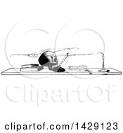 Clipart Of A Vintage Black And White Sketched Skull And Boks On A Desk Royalty Free Vector Illustration
