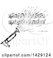 Clipart Of A Vintage Black And White Sketched Instrument With Sheet Music Royalty Free Vector Illustration