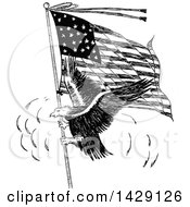 Vintage Black And White Sketched Eagle And American Flag