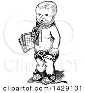 Vintage Black And White Sketched Baby Boy Carrying Papers