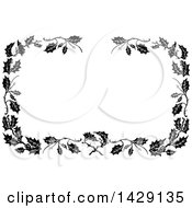 Clipart Of A Vintage Black And White Border Of Leaves Royalty Free Vector Illustration