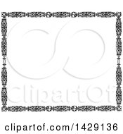Clipart Of A Vintage Black And White Leaf Border Royalty Free Vector Illustration
