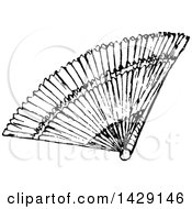 Clipart Of A Vintage Black And White Hand Fan Royalty Free Vector Illustration by Prawny Vintage