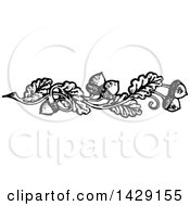 Clipart Of A Vintage Black And White Acorn And Oak Leaf Border Royalty Free Vector Illustration