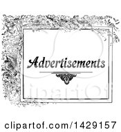 Clipart Of A Vintage Black And White Advertisements Design With Branches Royalty Free Vector Illustration