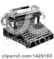 Clipart Of A Vintage Black And White Typewriter Royalty Free Vector Illustration by Prawny Vintage