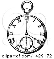 Clipart Of A Vintage Black And White Pocket Watch Royalty Free Vector Illustration