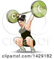 Clipart Of A Woman Doing Barbell Squats Royalty Free Vector Illustration by Lal Perera