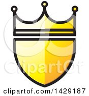 Clipart Of A Yellow Crowned Shield Royalty Free Vector Illustration