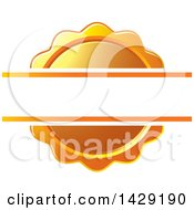 Clipart Of A Blank Banner Over An Orange Wax Seal Or Badge Royalty Free Vector Illustration by Lal Perera