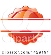 Clipart Of A Blank Banner Over A Red Wax Seal Or Badge Royalty Free Vector Illustration by Lal Perera