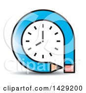 Clipart Of A Blue Pencil Clock Royalty Free Vector Illustration by Lal Perera