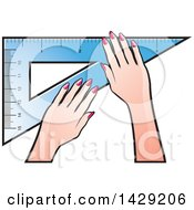 Clipart Of Hands With A Set Square Royalty Free Vector Illustration by Lal Perera