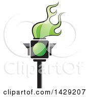 Clipart Of A Green Traffic Light Torch Royalty Free Vector Illustration by Lal Perera