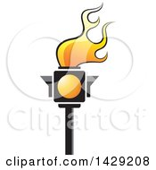 Clipart Of A Yellow Traffic Light Torch Royalty Free Vector Illustration