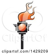 Clipart Of A Red Traffic Light Torch Royalty Free Vector Illustration