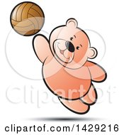 Clipart Of A Bear Playing Volleyball Royalty Free Vector Illustration