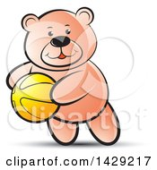 Clipart Of A Bear Playing With A Ball Royalty Free Vector Illustration