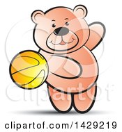 Clipart Of A Bear Playing With A Ball Royalty Free Vector Illustration by Lal Perera