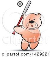 Clipart Of A Bear Batting In A Baseball Game Royalty Free Vector Illustration