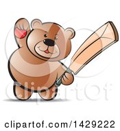 Clipart Of A Bear Holding A Cricket Ball And Bat Royalty Free Vector Illustration