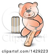 Clipart Of A Bear Playing Cricket Royalty Free Vector Illustration