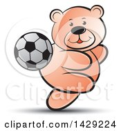 Clipart Of A Bear Playing Soccer Royalty Free Vector Illustration