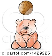 Clipart Of A Bear Playing Volleyball Royalty Free Vector Illustration by Lal Perera