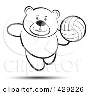 Clipart Of A Black And White Bear Playing Volleyball Royalty Free Vector Illustration