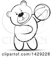 Clipart Of A Black And White Bear Playing With A Ball Royalty Free Vector Illustration
