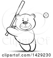 Clipart Of A Black And White Bear Batting In A Baseball Game Royalty Free Vector Illustration