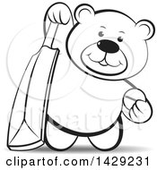 Black And White Bear Holding A Cricket Ball And Bat