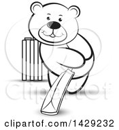 Clipart Of A Black And White Bear Playing Cricket Royalty Free Vector Illustration