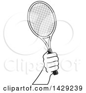 Black And White Hand Holding A Tennis Racket