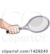 Clipart Of A Hand Holding A Tennis Racket Royalty Free Vector Illustration by Lal Perera