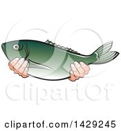 Clipart Of Hands Holding A Fish Royalty Free Vector Illustration by Lal Perera