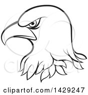 Clipart Of A Black And White Bald Eagle Head Royalty Free Vector Illustration