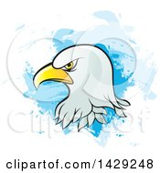 Clipart Of A Bald Eagle Head Over Blue Brush Strokes Royalty Free Vector Illustration