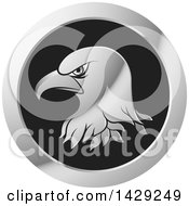 Clipart Of A Silver Bald Eagle Head Icon Royalty Free Vector Illustration by Lal Perera