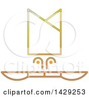 Yellow And Orange Chef Hat And Knives Icon