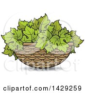 Clipart Of A Basket Of Grape Leaves Royalty Free Vector Illustration by Lal Perera