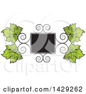 Clipart Of A Frame Of Swirls And Grape Leaves Royalty Free Vector Illustration by Lal Perera