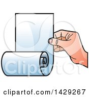 Clipart Of A Hand Holding A Scroll Royalty Free Vector Illustration by Lal Perera
