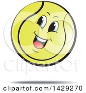 Clipart Of A Happy Bouncing Tennis Ball Royalty Free Vector Illustration