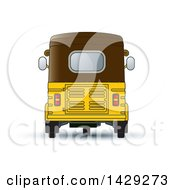Clipart Of A Rear View Of A Three Wheeler Vehicle Royalty Free Vector Illustration