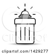 Clipart Of A Black And White Bell On A Trash Can Royalty Free Vector Illustration