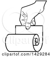 Clipart Of A Black And White Hand Holding A Scroll Royalty Free Vector Illustration by Lal Perera