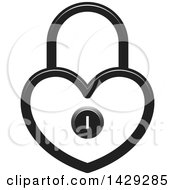 Clipart Of A Heart Shaped Padlock Royalty Free Vector Illustration