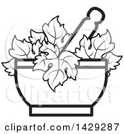 Clipart Of A Black And White Mortar And Pestle With Leaves Royalty Free Vector Illustration