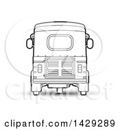 Clipart Of A Black And White Rear View Of A Three Wheeler Vehicle Royalty Free Vector Illustration